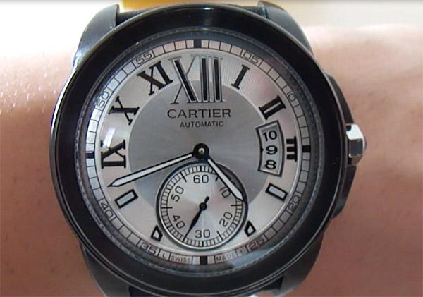 dial del reloj réplica de plata Calibre de Cartier