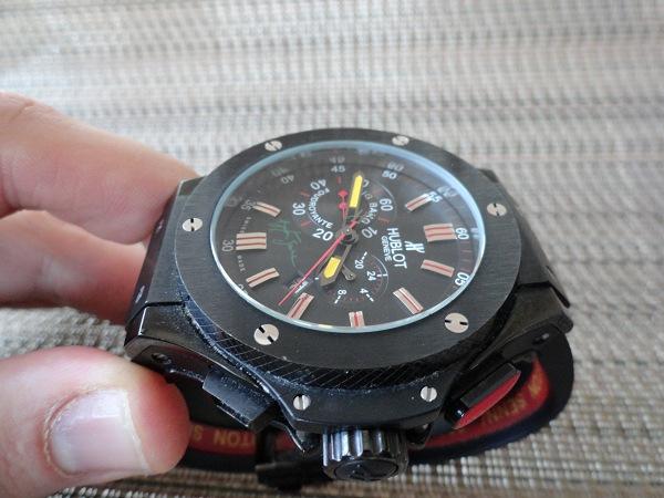 Hublot Ayrton Senna Edición reloj réplica vista corona