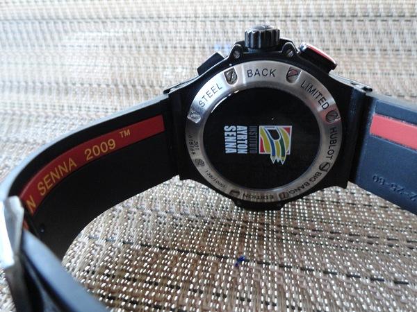 Hublot Ayrton Senna edición réplica de reloj vista posterior caso